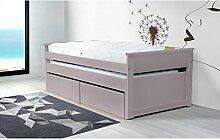 ABC MEUBLES - Ausziehbett, mit Schubladen 90 x 200 cm Holz - TIRTOP - Pastell-lila, 90x200
