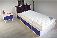 ABC MEUBLES - Bett 90 x 200 Boxen mit Schubladen - LIT90CUBLB - Dunkelblau