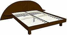 ABC MEUBLES - Bett ARC Holz mit integriertem Kopf und Nachttische - ARC - Wenge, 160x200