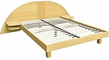 ABC MEUBLES - Bett ARC Holz mit integriertem Kopf und Nachttische - ARC - Honig, 160x200