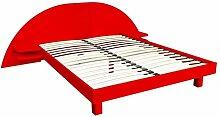 ABC MEUBLES - Bett ARC Holz mit integriertem Kopf und Nachttische - ARC - Rot, 160x200