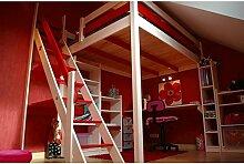 ABC MEUBLES - Hochbett Sylvia mit Treppe - 1130 - Weiß/Rot, 140x200