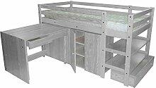 ABC MEUBLES - Kompakte Bett Wendy 90x190 cm - LITWENDY - Grau aluminium