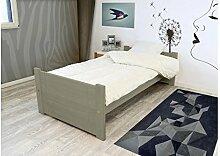 ABC MEUBLES - Solo Bett 90x190 cm Buche - SOLO90 - Getönt Taupe, 90x190