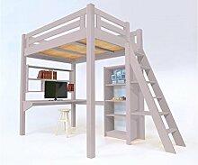 ABC Möbel–Hochbett ALPAGE Holz + Leiter höhenverstellbar–alpagech–Violett Pastell, 160x 200