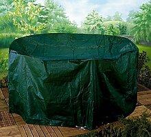Abdeckung Gartenmöbel Möbelschutzhülle für Bistro Garnitur Abdeckhaube Schutzhülle Gartengarnitur Bistroset XL 90 cm hoch, 150 cm breit, 80 cm tief - aus reißfestem 130 gsm Polyester mit Metallösen und Nylonkordel