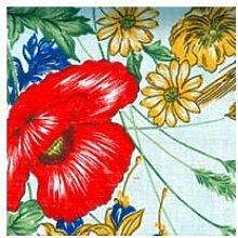 Abdeckung Gartentisch–Vorhang Xtra weiß Baumwolle extra Blumen 300x 150Mohn [Xtra weiß]
