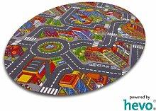 Abenteuer Stadt HEVO® Teppich | Kinderteppich | Spielteppich 125x195 cm Ellipse