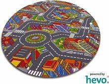 Abenteuer Stadt HEVO® Teppich | Kinderteppich | Spielteppich 160 cm Ø Rund