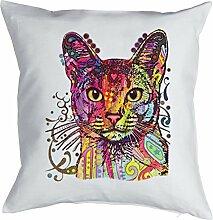 Abessinier Hauskatze Kissen mit Innenkissen - Katzen Print- neonfarben Pop Art Motiv - buntes kurzhaar Katzen Portrait Abyssinian - Motiv Kissen Deko 40x40cm weiß : )