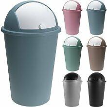 Abfalleimer 50L mit Schiebedeckel 68cm x 40cm blau - Mülleimer Papierkorb Abfallbehälter Restmüll Müllbehälter Abfallsammler