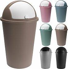 Abfalleimer 50L mit Schiebedeckel 68cm x 40cm braun- Mülleimer Papierkorb Abfallbehälter Restmüll Müllbehälter Abfallsammler