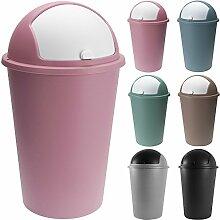 Abfalleimer 50L mit Schiebedeckel 68cm x 40cm rosa - Mülleimer Papierkorb Abfallbehälter Restmüll Müllbehälter Abfallsammler