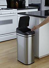 Abfalleimer, rechteckig, mit Sensor, weniger Berührung, sehr schlank, Große bis kleine Edelstahl-Mülleimer für die Küche, Bad und Zuhause, Silberfarben, edelstahl, silber, 50 l