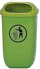 Abfallkorb nach DIN 30713, Grün, Mit Pfosten und