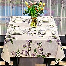 abgw Tischdecke rechteckig Esszimmer Baumwolle Linie Abdeckung Stoff Garten Hotel Cafe Restaurant Zubehör Heim in europäischen Stil Druck 135x 200