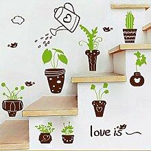 Abnehmbare Topfpflanzen Muster Wandaufkleber Schrank Glastür Treppen baseboard Dekorative Wandaufkleber