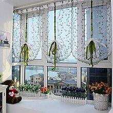 aboqueen 1PC Sheer Stickerei Floral Vorhang Küche Cafe Esszimmer Fenster Volants 200cm x 80cm, weiß