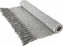 Abreeze Grauer gewebter Teppich mit Quasten,