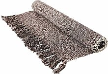 Abreeze grauer handgewebter Teppich, waschbar,
