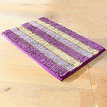 Absorbierende Anti-Rutsch-Badematte 45cm * 65cm Microfaser-Chenille-Duschmatte für Badezimmer - vier Farben ( Color : Purple )