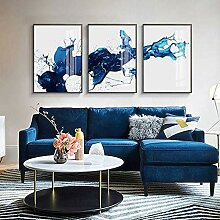 Abstrakte aquarellblaue Wandkunst Leinwandmalerei
