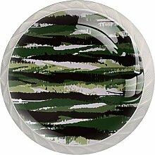 Abstrakte armeegrüne Schubladenknauf, rund, Glas,