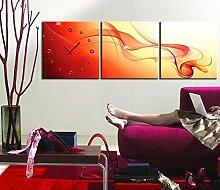 Abstrakte Malerei Wanduhr Rahmenlos dekoriert Abstrakte rote Linien Leinwand gemalte Wanduhr , 40*40cm