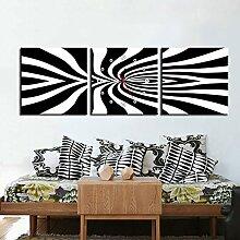 abstrakte malerei wanduhr rahmenlose dekoriert schwarz und weiß muster leinwand gemalt wanduhr , 50*50cm