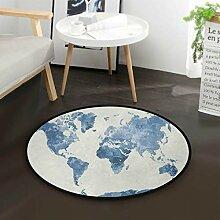 Abstrakte Weltkarte runder Bereich Teppich für