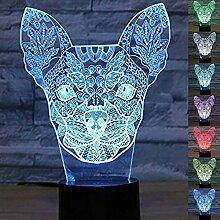 Abstraktes 3D-Chihuahua-Hunde-Nachtlicht mit