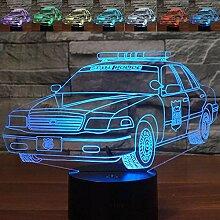Abstraktes 3D-Nachtlicht, Polizeiauto, optische