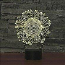 Abstraktes 3D-Sonnenblumen-Nachtlicht mit