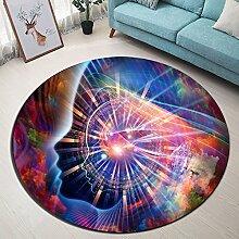 abstraktes Bild Wissenschaft Magie Rutschfest maschinenwaschbar runde Fläche Teppich Wohnzimmer Schlafzimmer Badezimmer Küche weich Teppich Bodenmatte Inneneinrichtungen 120x120 CM