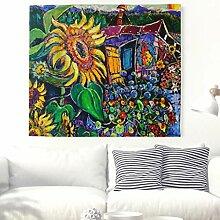 Abstraktes Keines Haus mit Sonnenblumen