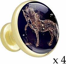 Abstraktes Pferd Lila 4 Stück Crystal Gold