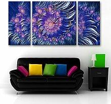Abstraktes wunderschönes Muster Wanduhr Rahmenlos Kunst Wohnzimmer Esszimmer Dekoration Landschaft Leinwand gemalt Wanduhr , 30*60+60*60cm