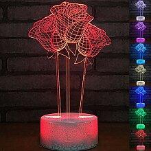 Abstraktives 3D-Nachtlicht, optische Täuschung, 7