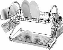 Abtropfgestell / Abtropfschale mit zwei Ablagen für Geschirr und Besteck, silber chrome