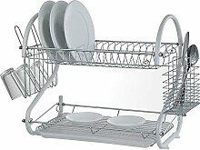Abtropfgestell / Abtropfschale mit zwei Ablagen für Geschirr und Besteck, silber weiß