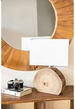 Abura Tischleuchte aus Holz und Stoff Weiss Sklum