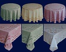 Abwaschbare Tischdecke - Gartentischdecke as Vinyl - Oval - verschiedene Größen & Farben (Rot, 150 cm x 225 cm Oval)