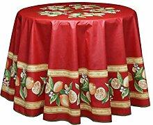 Abwaschbare Tischdecke rund ca. 180 cm Menton rot,