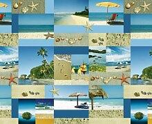 Abwaschbare Tischdecke Wachstuch Strand Blau Sommer Sonne Eckig Breite x Länge 100x320 bzw. 100 x 320 bzw. 320x100 cm wählbar Gartentischdecke von DecoHometextil - 100 x 320 cm