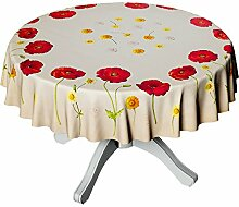Abwaschbare Tischdecke Wachstuch Wachstischdecke Rund 150cm Mohnblumen