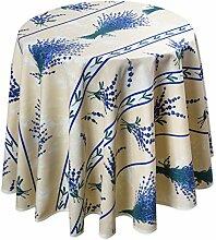 Abwischbare Tischdecke, Natur Lavendel, rund 160 cm, Lotuseffek
