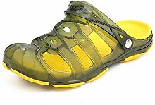 Acaroline Männer Breathable Garten-im Freien gehende Pantoffel-rutschfeste Strand-Baden-Sandelholze (Farbe : Gelb, Größe : 42)