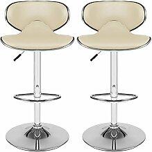 Acecoree 2 x Barhocker drehbar Barstuhl höhenverstellbar Küchenhocker Design Bar Hocker modern Drehstuhl verchromter Stahl (Beige)