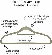 Acecoree Kleiderbügel Samt 50 stück rutschfeste Kleiderbügel Samt-Bezug beflockt Hosenbügel