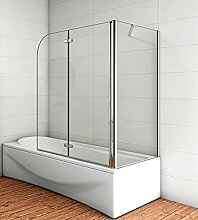 Acezanble Badewannenaufsatz 110x75cm Eck Duschwand